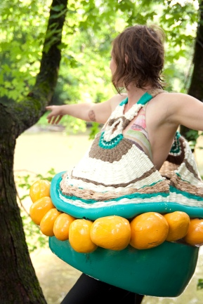 a float, a flicker, 2009; rope, ribbon, yarn, twine, fabric, foam, paint; 2' x 2' x 3' Photo: Shannon Sullivan