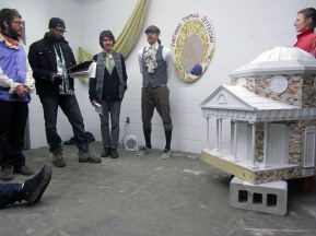 Continuing Thomas Jefferson Audition, 2011; wood, foam, palster, paint, wallpaper, costumes; dimensions variable