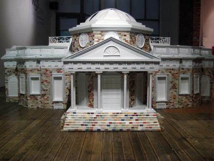 Declarations of Truth, 2011; wood, paint, foam, wallpaper, cardboard; 9' x 5' x 3.5'
