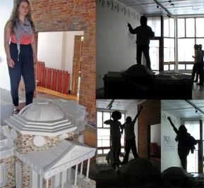 Declarations of Truth- Declarers, 2011; wood, paint, foam, wallpaper, cardboard, declarers; dimensions variable Photo: The Sculpture Center
