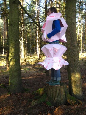 Architectural Clothing, 2009; pink residing board; 2.5' x 2.5' x 4.5'