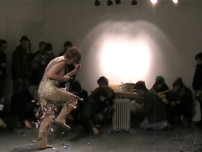 Spoon Dance, 2008; pants, fabric, spoons; dimensions variable