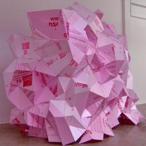 Dream Hut, 2007; pink residing board, glue, domestic fabrics, rope, metal; 8' x 5' x 7'
