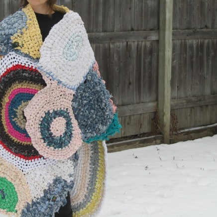 What Comforts Me, 2018; Crochet made with clothing worn by myself or people I care about: 7' X 3'