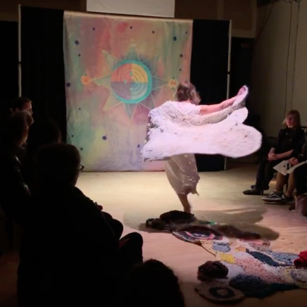 Mapping a Love Song, 2019; collaboration with Meredith L. King; fabric, sound, movement, dimensions variable; performed at Maelstrom Collaborative Arts