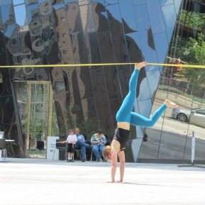 Learning To Walk, 2013; ratchet strap, plaza: dimensions variable: performed at MOCA Cleveland