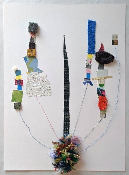 """We've Built Unstable Towers, 2020; fabric, paper, yarn, thread; 10.75 X 15"""""""